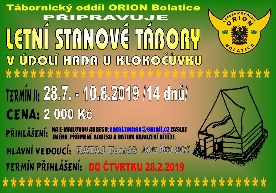 Letní stanový tábor T.O. Orion